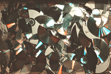 Full Frame Shot Of Damaged Compact Discs