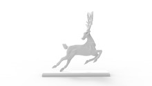 3D Rendering Of A Deer In Jump...