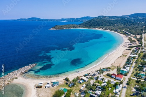 Fototapety, obrazy: Aerial drone view of Paliouri Beach in Kassandra Sithonia penisula  Chalkidiki Greece