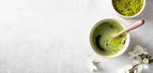Matcha Green Tea On A Light Background, Top View, Place For Text, Banner