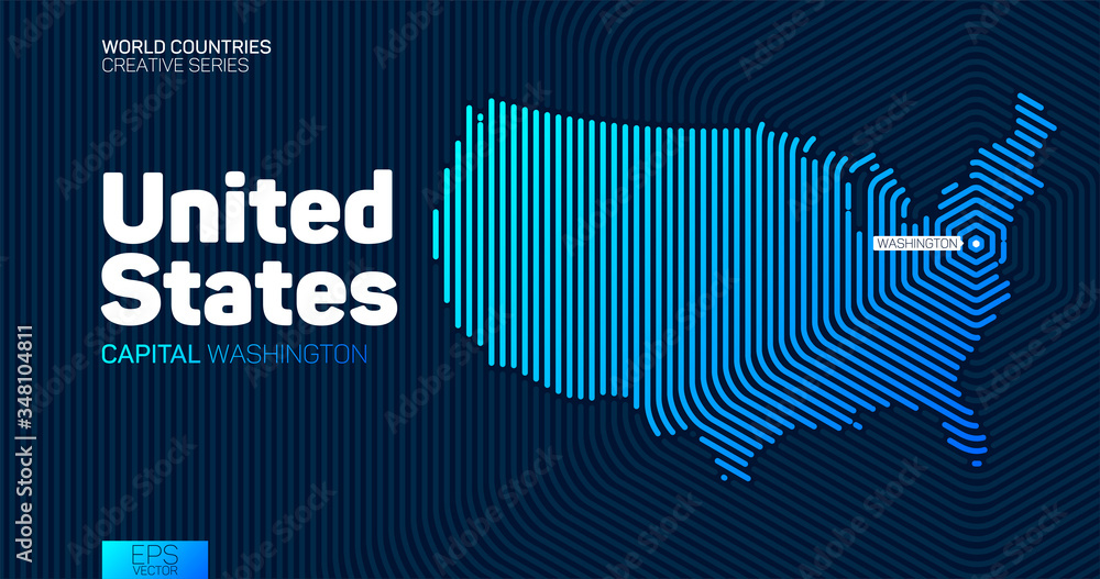 Fototapeta Abstract map of United States of America with hexagon lines