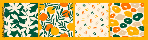 Artistic seamless pattern with abstract flowers and oranges. - 348105690