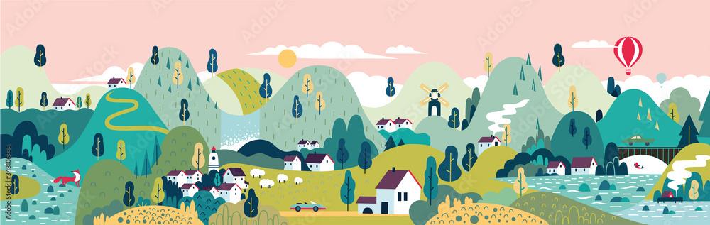 Fototapeta Village. Small town. Rural and urban landscape.