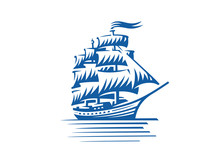 Blue Vintage Sailing Ship. Seafaring, Sailer Concept. Vector Illustration
