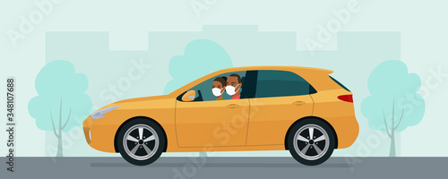 Fototapeta Hatchback car with a young man and woman in a medical mask driving on a background of abstract cityscape. Vector flat style illustration. obraz