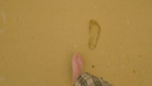 Caucasian Man's Foot Walking O...