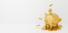 3d Gold Piggy Bank Isolated On White Background Abstract With Gold Coins Falling. 3d Rendering For Advertisement Board, Investment Banking Financial. Save Money Business Finance. Pig Money Box Icon.