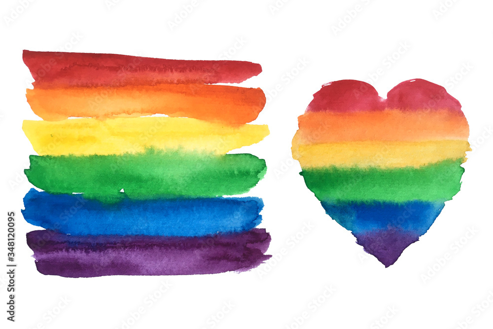 Fototapeta Gay pride rainbow flag and heart. LGBT community symbol watercolor illustration