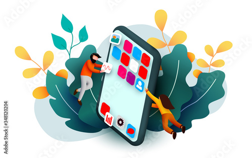 Modern banner template with tiny people and giant smartphone Wallpaper Mural