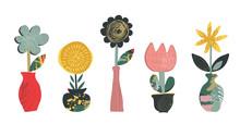 Set Of Vector Flowers In Pots ...