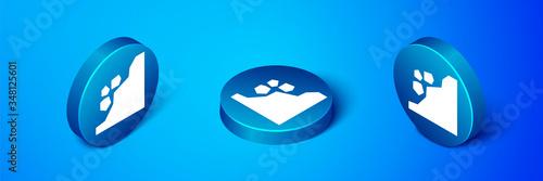 Fototapeta Isometric Landslide icon isolated on blue background
