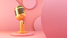 Golden Microphone On Pink Back...