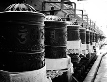 Prayer Wheels In Buddha Temple
