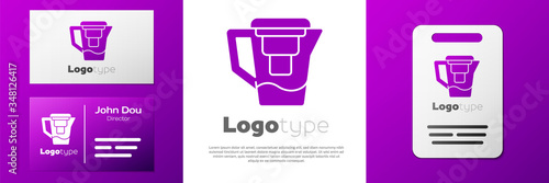 Fotografie, Obraz Logotype Water jug with a filter icon isolated on white background