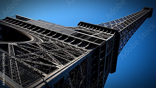 Fotografie, Obraz Low Angle View Of Eiffel Tower Against Clear Blue Sky