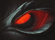 canvas print picture - Dark dragon red glowing eye