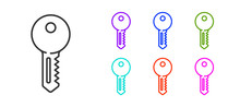 Black Line House Key Icon Isol...