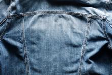 Back Side Of A Vintage Blue Jeans Or Denim Jacket With Copy Space