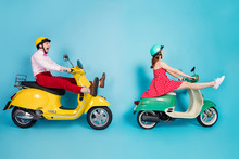Full Length Profile Photo Of Crazy Lady Guy Couple Drive Two Retro Moped Travelers Traffic Jam Easy Way Spread Legs Rejoicing Having Fun Vintage Clothes Caps Isolated Blue Color Background