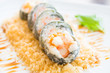 Selective focus point on Tempura sushi maki in white plate - Japanese food style