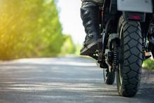 Motorbike Wheel And Biker Leg ...