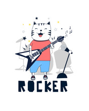 Hand Drawn Music Elements And Cute Cat. Music About Doodle Illustration. Vector Illustration. Hand Drawing Slogans And Icons Vector.