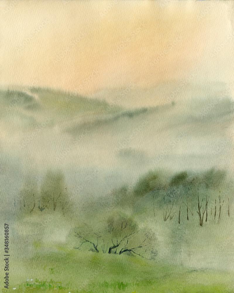 Watercolor sketch: Misty Bashkiria