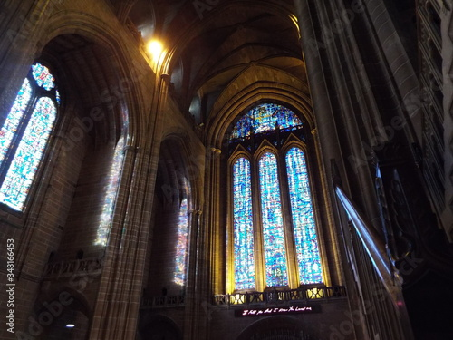 Low Angle View Of Stained Glasses In Church Canvas Print
