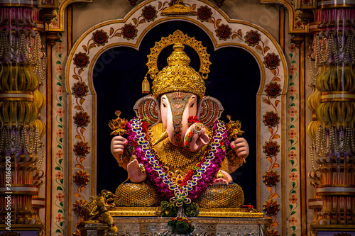 Tablou Canvas Dagdusheth Ganapati Idol at pune with golden jewellery and beautiful decoration