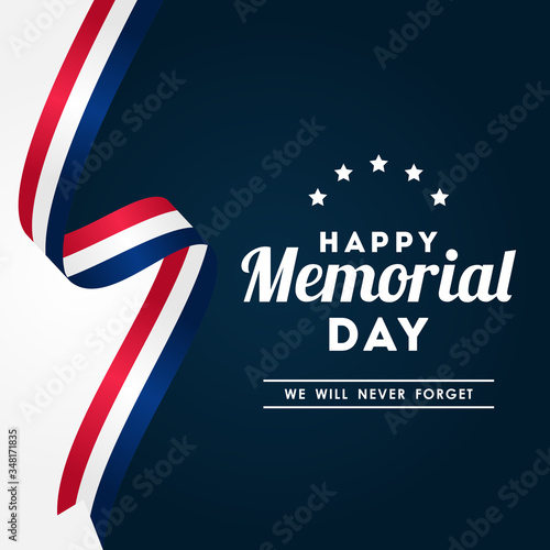Happy Memorial Day Vector Design Illustration For Celebrate Moment Fotomurales
