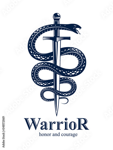 Snake and Dagger, Serpent wraps around a sword vector vintage tattoo, Life is a Fight concept, allegorical logo or emblem of ancient symbol Canvas Print