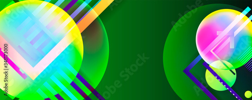 Photo Green color geometric background