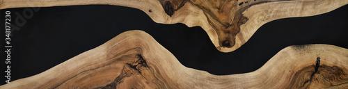 Fototapeta black epoxy resin panel with walnut, texture for design obraz