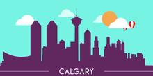 Calgary Skyline Silhouette Fla...