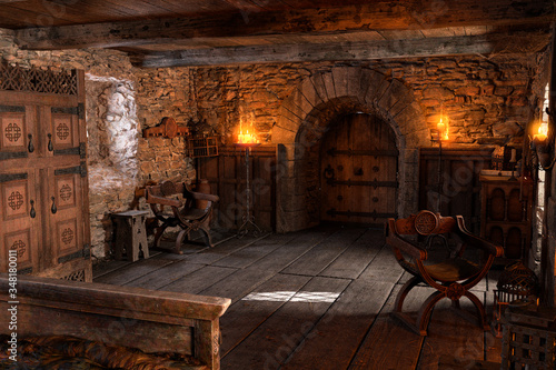 3D Rendering Medieval Bedroom Wallpaper Mural