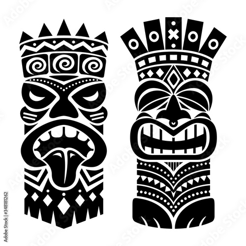 Tiki statue pole totem vector design - traditional decor set from Polynesia and Poster Mural XXL