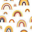 Baby rainbow seamless pattern. Vector Illustration. Nursery pattern in hand drawn scandinavian style. Texture for fabric, textile, wrapping and wallpaper.