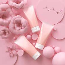 Pink Cosmetic Lotion And Cream...