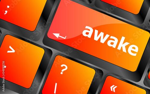 awake word on keyboard key, notebook computer Canvas Print
