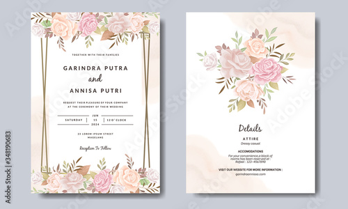 Elegant wedding invitation cards template with pink and blush roses  design Prem Canvas-taulu