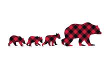 .Buffalo Plaid Bear Family. She-Bear And Her Three Cubs. Vector Illustration Of Wildlife.