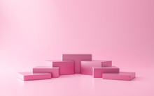 Pink Pedestal Of Stairs Or Podium Stand On Pink Background With Cosmetics Product Presentation Concept. Modern Pink Luxurious Display. 3D Rendering.