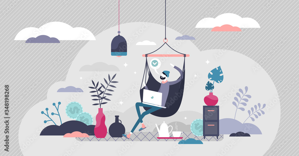 Fototapeta Remote work vector illustration. Work from home flat tiny persons concept.