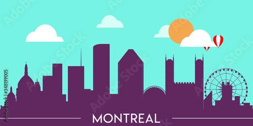 Montreal skyline silhouette flat design vector illustration