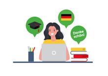 Woman Student Studies German L...
