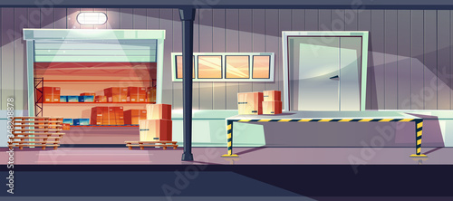 Warehouse entrance with gates and ramp vector Fotobehang