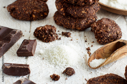 Keto Chocolate Cookies with almond and coconut flour Canvas Print