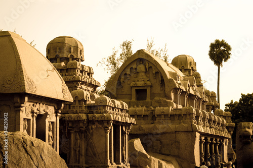 Obraz na plátně Pancha Rathas Against Sky At Mahabalipuram