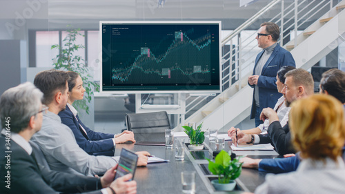 Fotografie, Obraz In Corporate Meeting Room: Creative Director Uses Digital Interactive Whiteboard for Presentation to a Board of Executives, Investors and Businesspeople