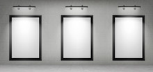 Blank Movie Posters Illuminated By Spotlights. Vector Realistic Mockup Of White Picture In Black Frames On Gray Tiled Wall In Cinema, Theater Hallway Or Gallery. Empty Advertising Banners With Lamps